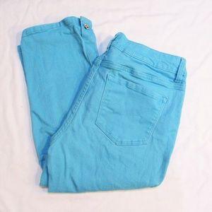 NYDJ Turquoise Teal Blue Green Rhinestone Capris